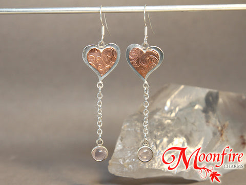 Whimsical Heart Rose Quartz Mixed Metals Earrings
