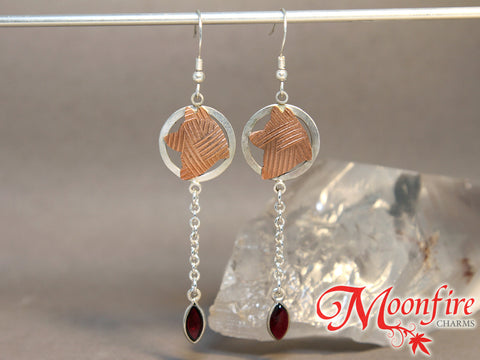 Akita Tribal Garnet Mixed Metals Earrings