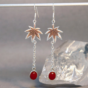 Maple Leaf Carnelian Mixed Metals Earrings