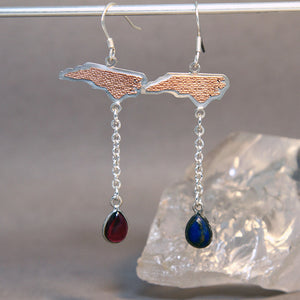 NC State Garnet and Lapis Lazuli Mixed Metals Earrings