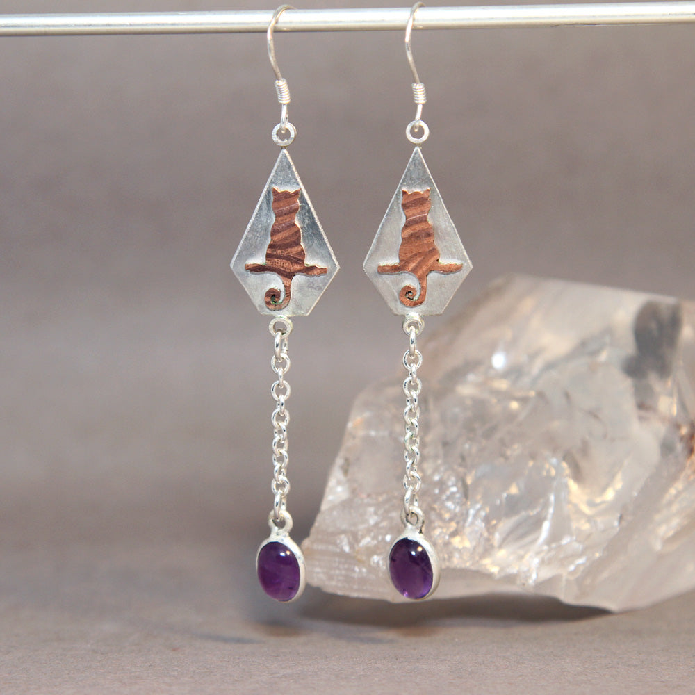 Cat on Branch Amethyst Mixed Metals Earrings
