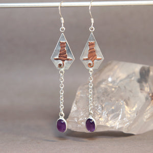 Cat on Branch Amethyst Earrings