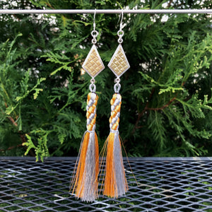 Kite Geometric Gold and Silver Tassel Earrings