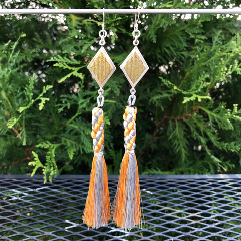 Diamond Geometric Gold and Silver Tassel Earrings