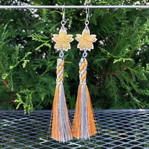 Sakura Blossom Gold and Silver Tassel Earrings
