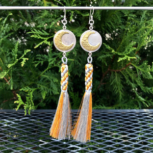 Crescent Moon Gold and Silver Tassel Earrings