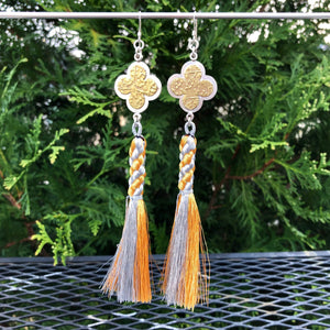 Quattrefoil Gothic Gold and Silver Tassel Earrings