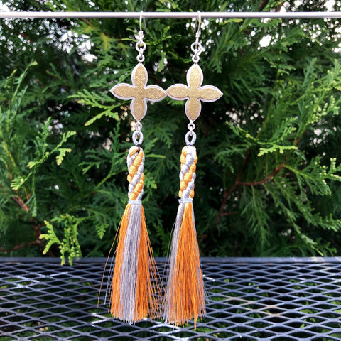 Petal Gothic Gold and Silver Tassel Earrings