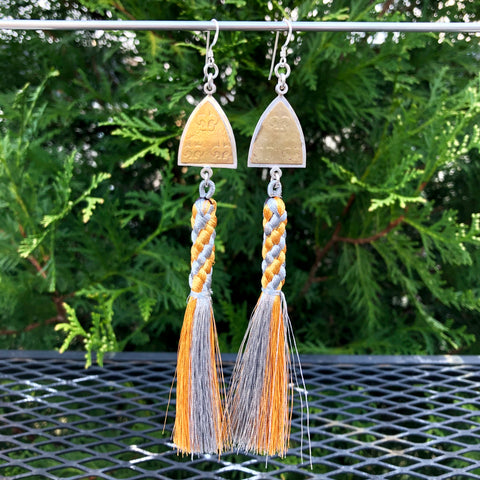 Fleur Arch Gold and Silver Tassel Earrings