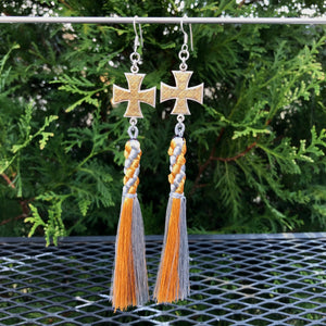 Iron Cross Gold and Silver Tassel Earrings