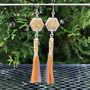 Honeycomb Hexagon Gold and Silver Tassel Earrings