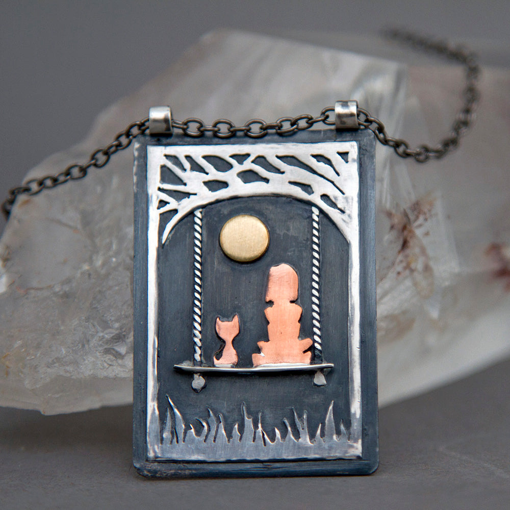 Midnight Moon Gazing Pendant Necklace