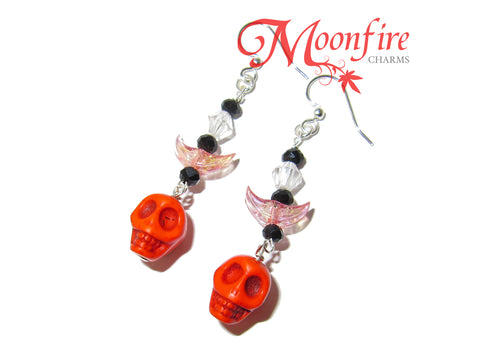 COCO Orange Skull and Crescent Moon Earrings