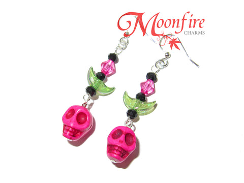 COCO Pink Skull and Crescent Moon Earrings