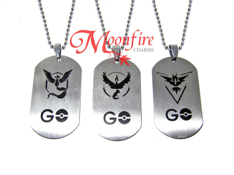POKEMON GO Team Mystic/Valor/Instinct Dog Tag Pendant Necklace