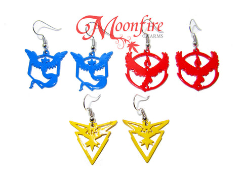 POKEMON GO Team Mystic/Valor/Instinct Color Logo Earrings