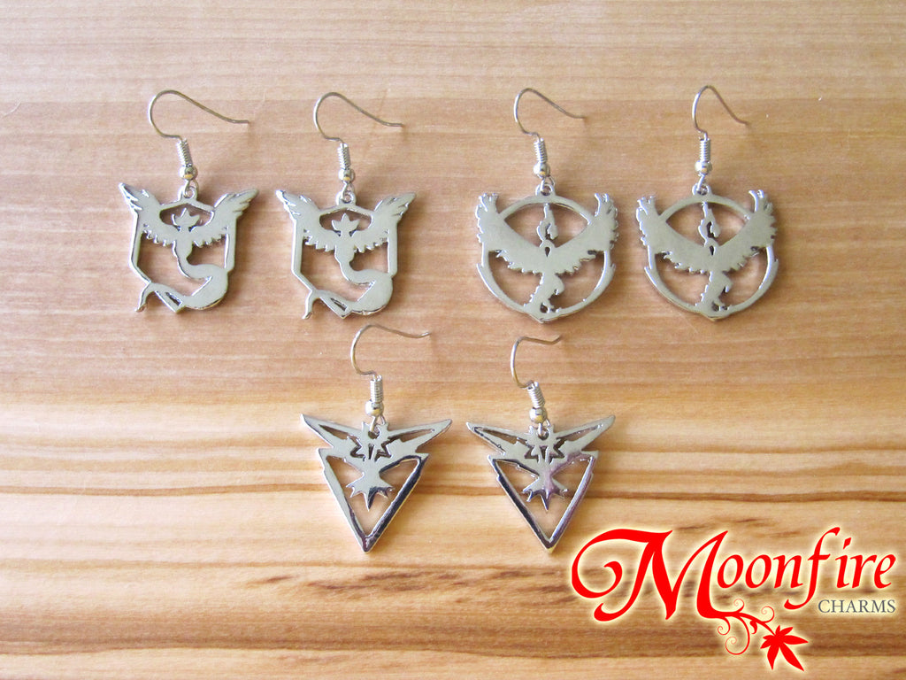 POKEMON GO Team Mystic/Valor/Instinct Silver Logo Earrings