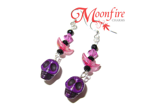 COCO Purple Skull and Crescent Moon Earrings