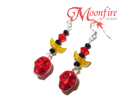 COCO Red Skull and Crescent Moon Earrings