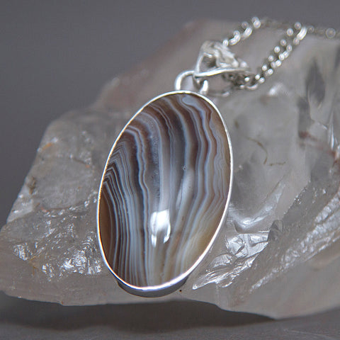 Natural Onyx Oval Classic Sterling Silver Pendant SP-005