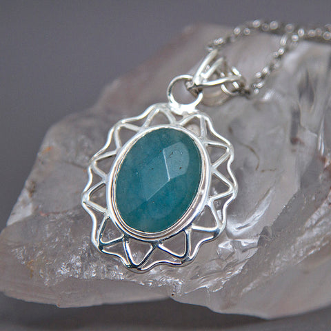 Aquamarine Faceted Oval Sunburst Sterling Silver Pendant SP-006