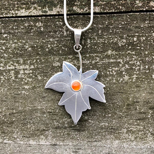 Carnelian Maple Leaf Sterling Silver Pendant SP-011-CN