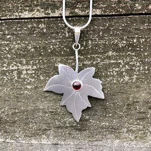 Garnet Maple Leaf Sterling Silver Pendant SP-011-GN