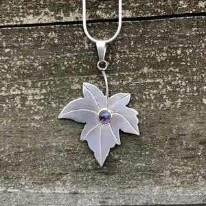 Iolite Maple Leaf Sterling Silver Pendant SP-011-IL
