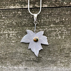 Tiger's Eye Maple Leaf Sterling Silver Pendant SP-011-TE