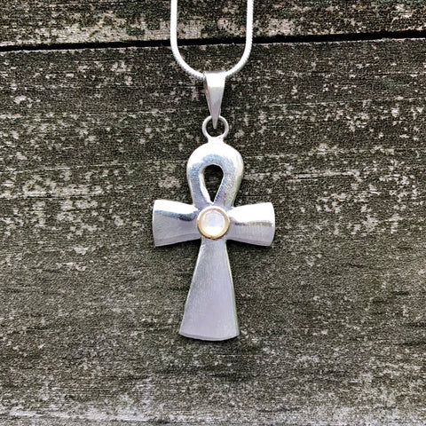 Rainbow Moonstone Ankh Sterling Silver Pendant SP-012-RM