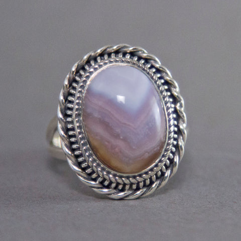 Botswana Agate Oval Entwine Sterling Silver Ring US 8 SS-003