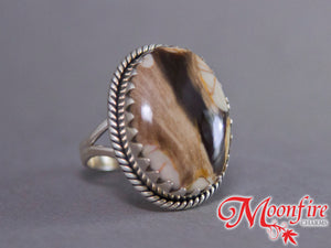 Peanut Wood Jasper Oval Jagtooth Sterling Silver Ring US 8 SS-004