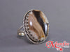 Peanut Wood Jasper Oval Jagtooth Sterling Silver Ring SS-004