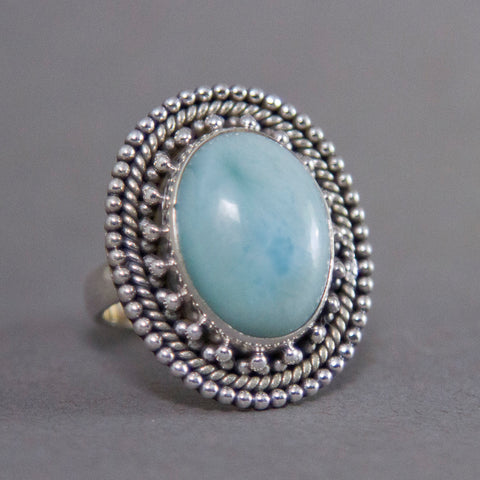 Larimar Oval Ornate Sterling Silver Ring US 6 SS-005