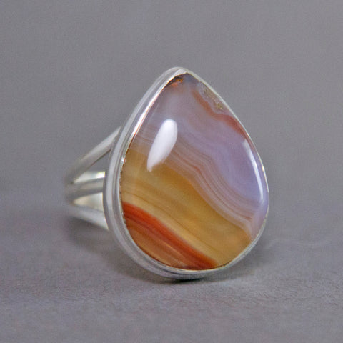 Botswana Agate Teardrop Classic Sterling Silver Ring US 7.5 SS-006