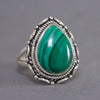 Malachite Teardrop Intricate Sterling Silver Ring SS-009