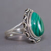 Malachite Teardrop Intricate Sterling Silver Ring US 7 SS-009