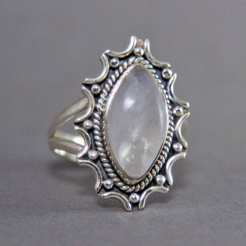 Rainbow Moonstone Marquise Starburst Sterling Silver Ring US 9 SS-010