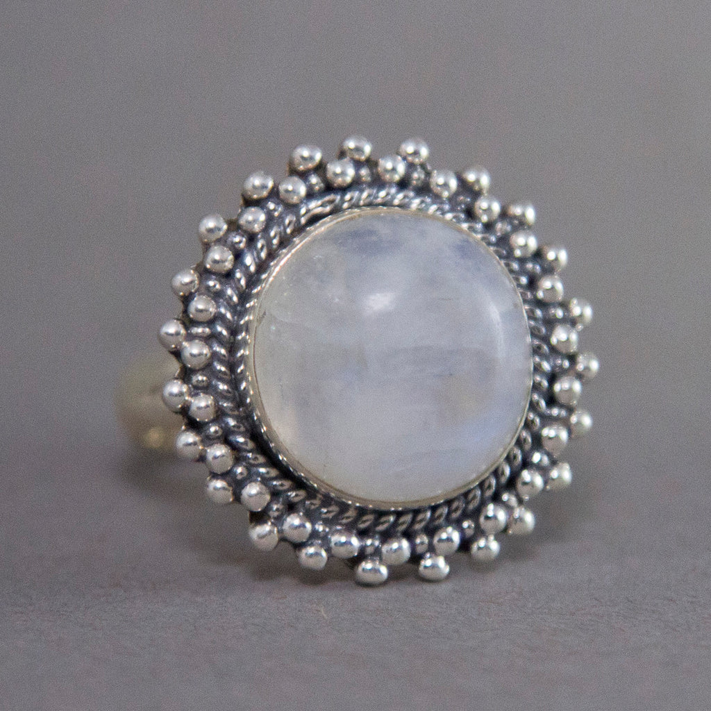 Rainbow Moonstone Round Raindance Sterling Silver Ring US 9 SS-011
