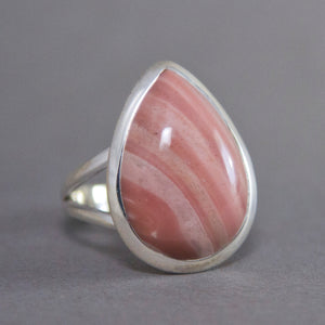 Pink Opal Teardrop Classic Sterling Silver Ring US 8 SS-012