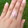 Pink Opal Teardrop Classic Sterling Silver Ring SS-012