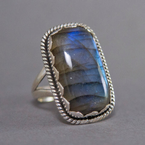 Labradorite Rectangle Jagger Sterling Silver Ring SS-013