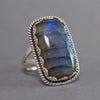 Labradorite Rectangle Jagger Sterling Silver Ring US 7 SS-013