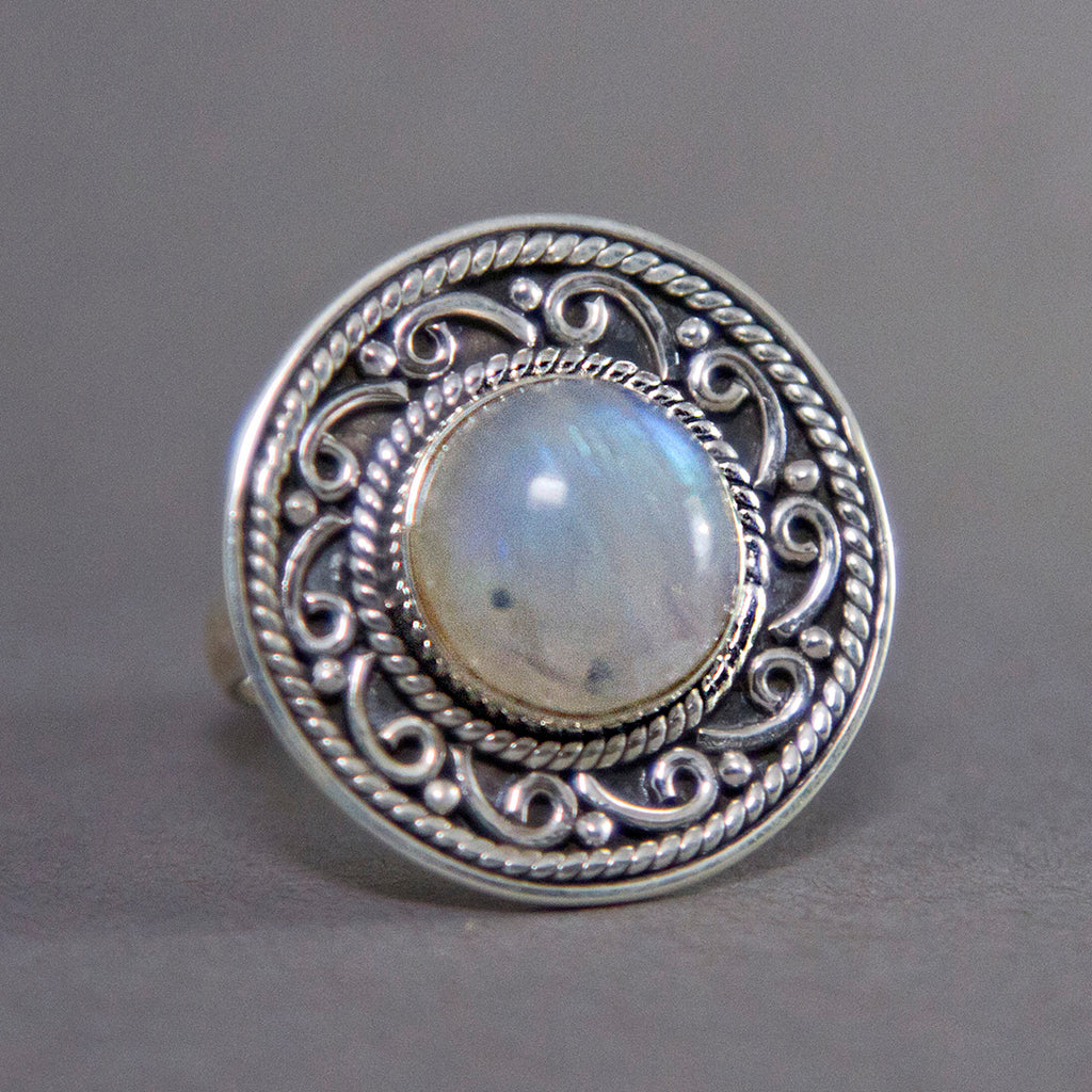 Rainbow Moonstone Round Scrollwork Sterling Silver Ring SS-014