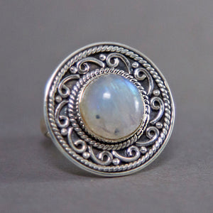 Rainbow Moonstone Round Scrollwork Sterling Silver Ring US 8 SS-014
