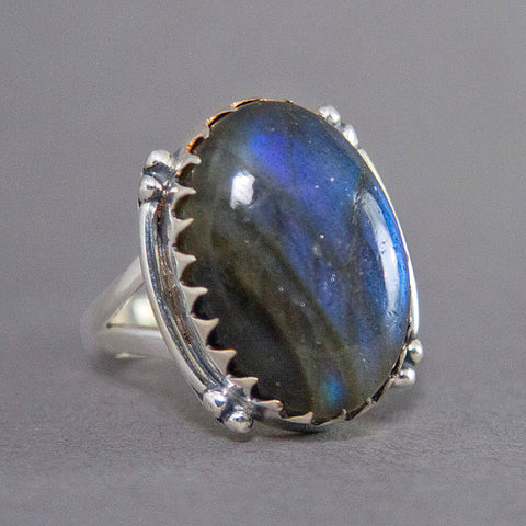 Labradorite Oval Jagtooth Sterling Silver Ring US 7 SS-015