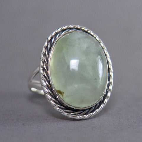 Prehnite Oval Entwine Sterling Silver Ring SS-017