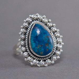 Shattuckite Teardrop Ornate Sterling Silver Ring US 7.5 SS-018