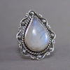 Rainbow Moonstone Teardrop Vigne Sterling Silver Ring SS-019