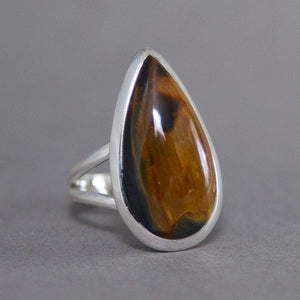Golden Pietersite Teardrop Classic Sterling Silver Ring US 6 SS-023